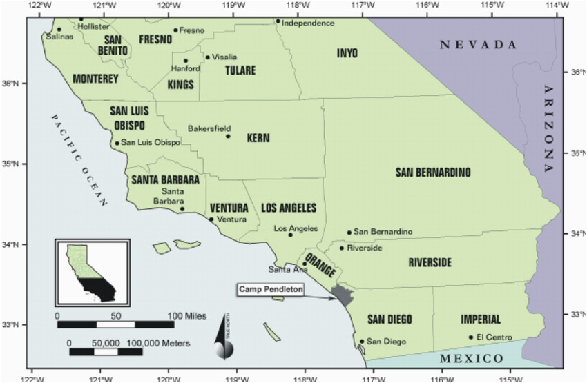 southern california regional map showing the location of san diego