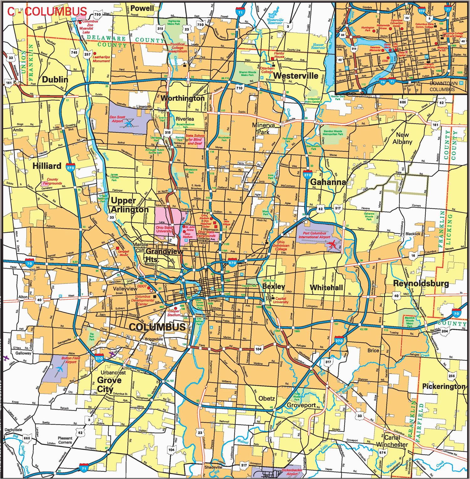 Map Of Columbus Ohio Suburbs Columbus Ohio Zip Code Map Firm ... Ghost Map on