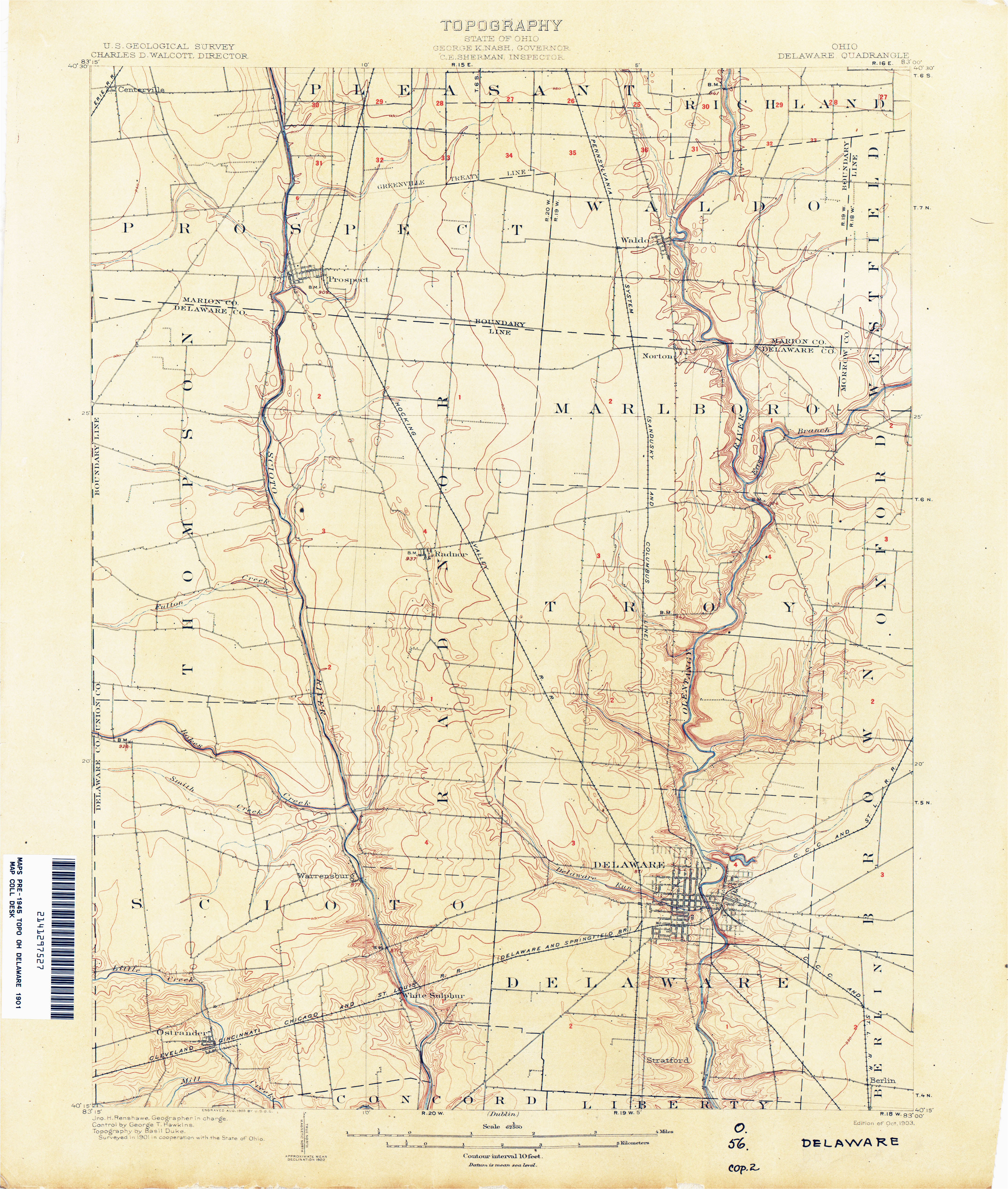 Map Of Delaware County Ohio Ohio Historical topographic Maps Perry Castaa Eda Map Collection