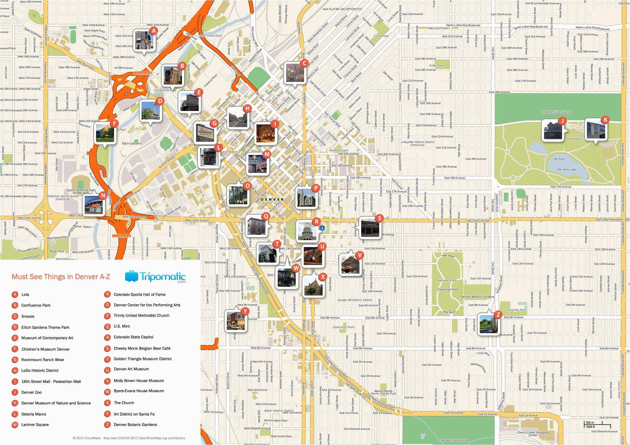 Map Of Downtown Colorado Springs Denver Printable tourist Map Free ...