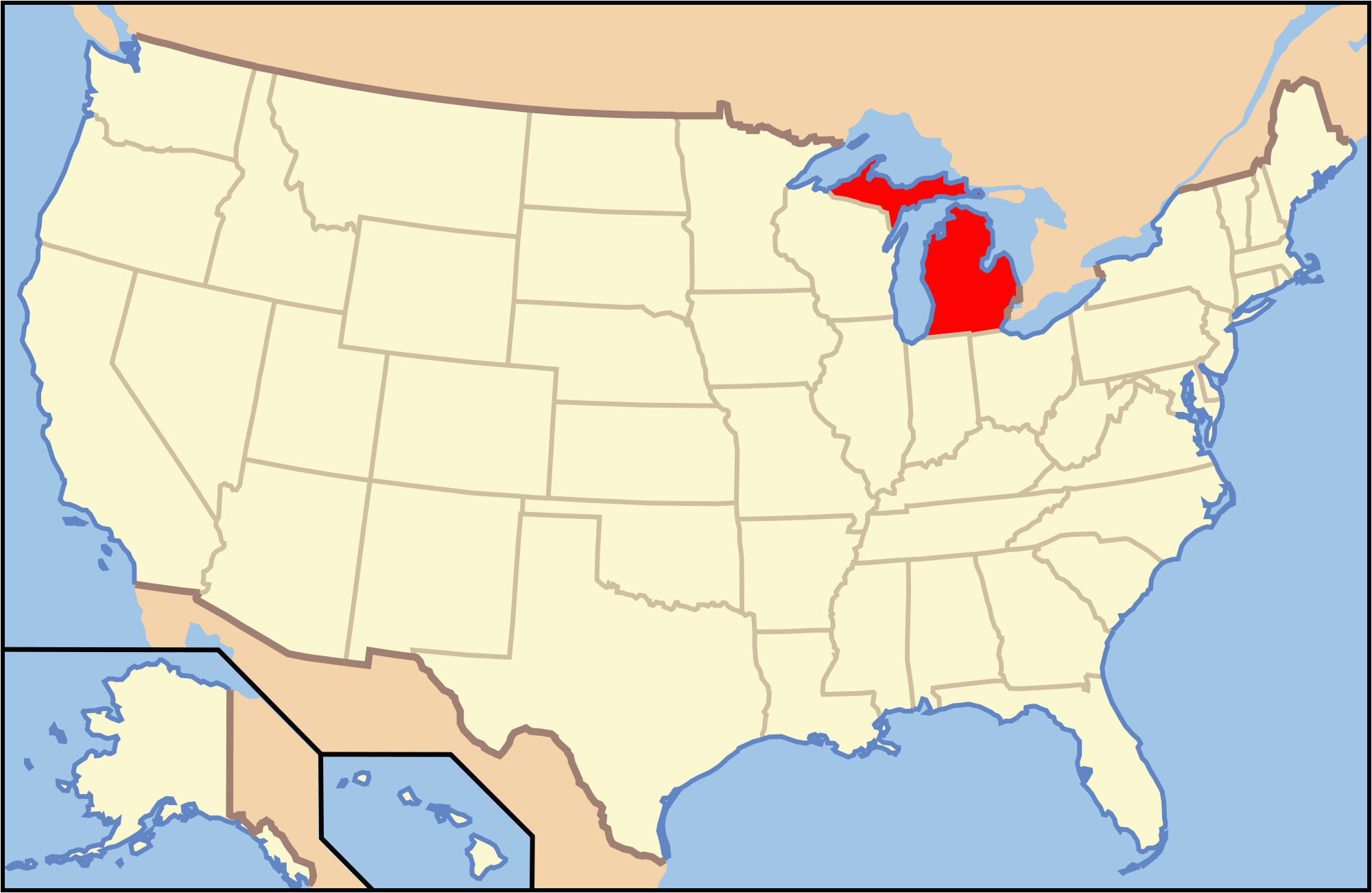 Map Of Downtown Detroit Michigan List Of islands Of Michigan ... Detroit Michigan Map on