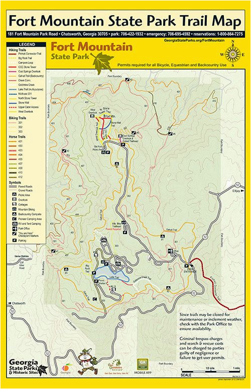 Map Of Georgia Ellijay.Map Of Ellijay Georgia Trails At Fort Mountain Georgia State Parks