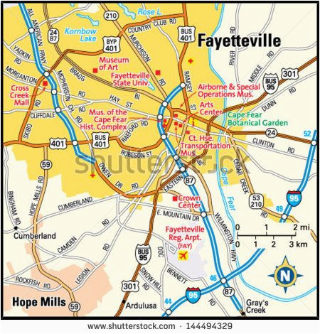 Map Of Fayetteville Nc Map Of Fayetteville north Carolina | secretmuseum