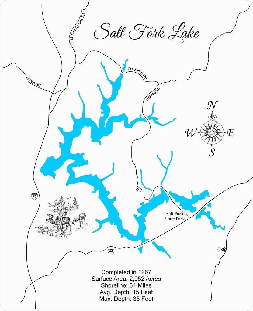salt fork lake ohio wood laser cut map salt fork lake ohio