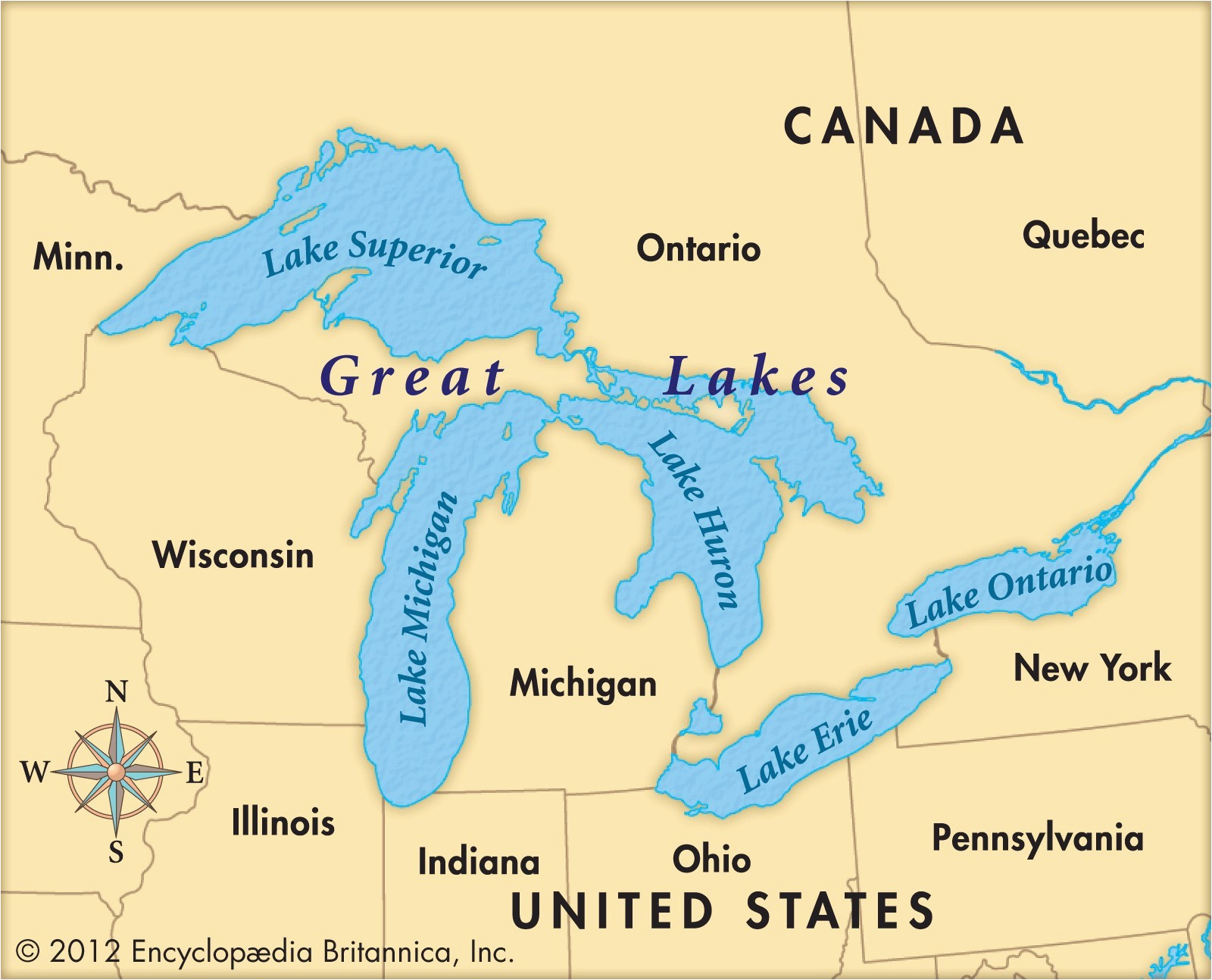 Map Of Michigan and the Great Lakes United States Map ...
