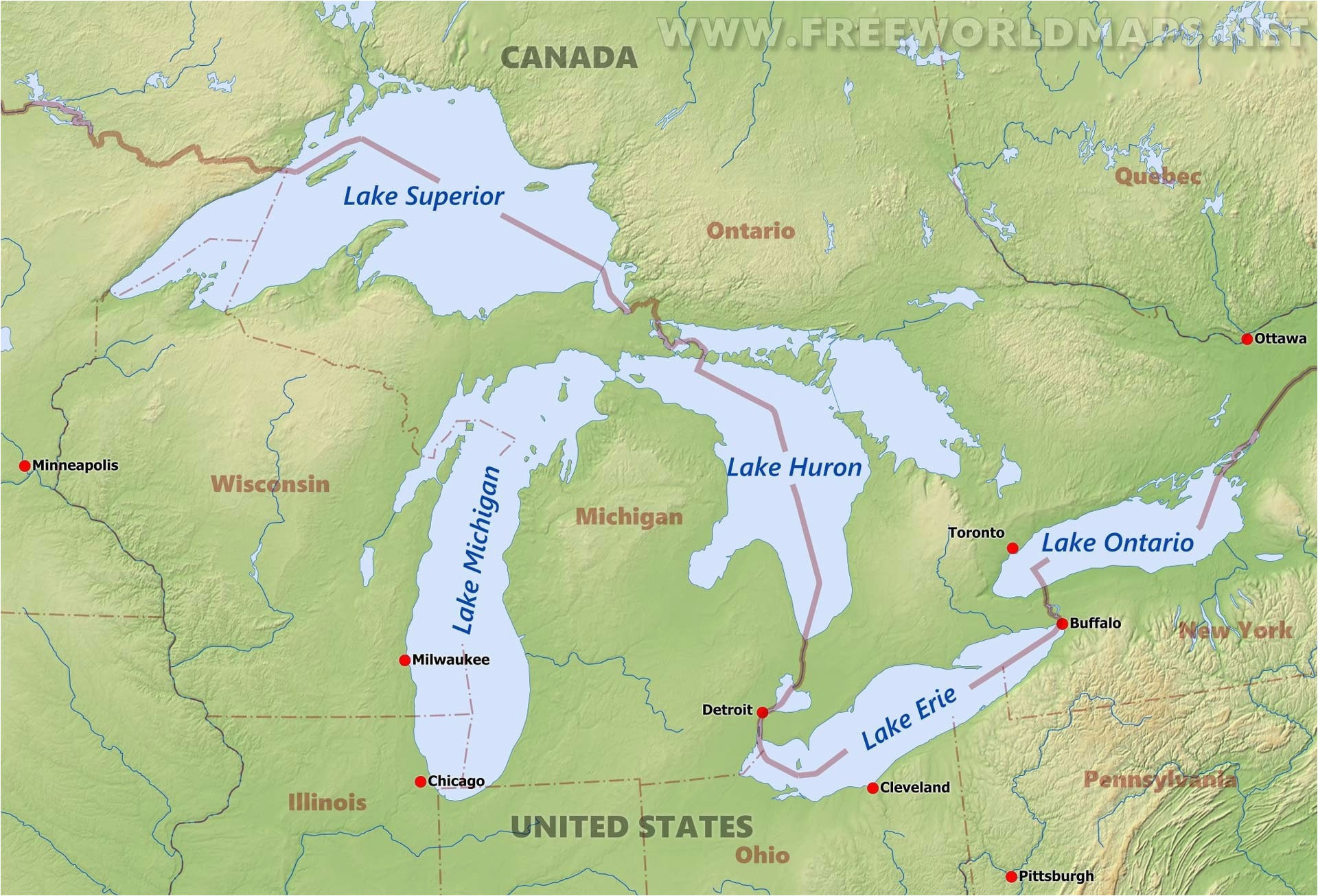 Map Of Michigan and the Great Lakes United States Map with ...