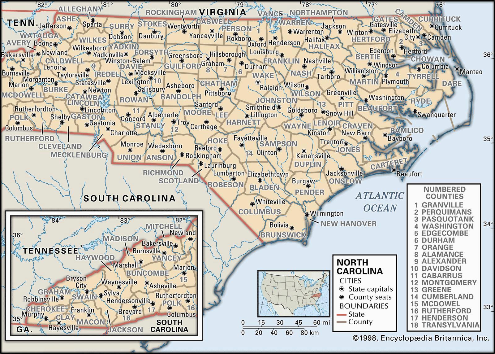 Map Of north Carolina and Surrounding States State and County Maps Of north Carolina