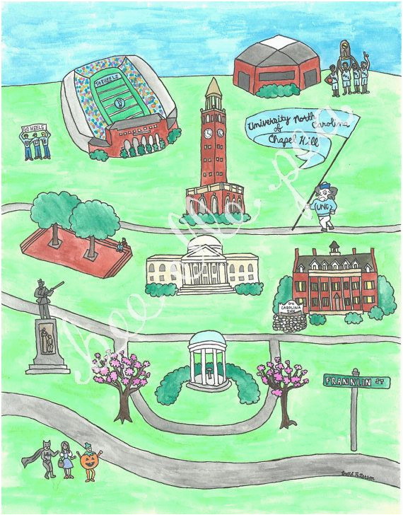 university of north carolina chapel hill map print gone to