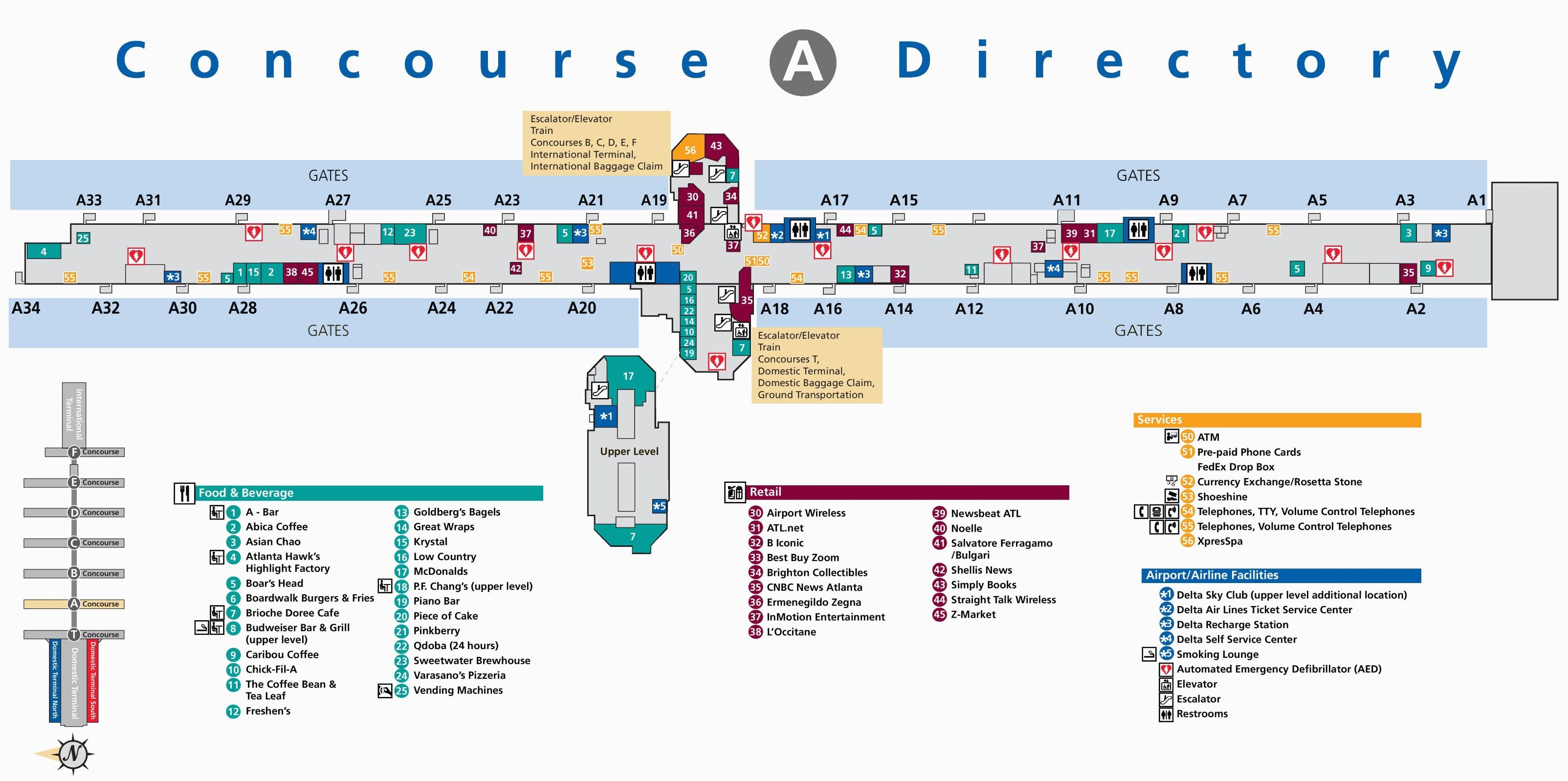 atlanta airport terminal a map