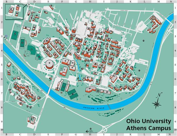 Map Of Ohio State Campus Ohio University S athens Campus Map