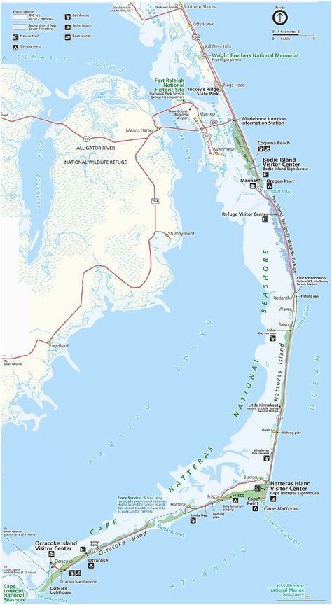 Map Of Outer Banks Of north Carolina Map Of the Outer Banks Including Hatteras and Ocracoke islands