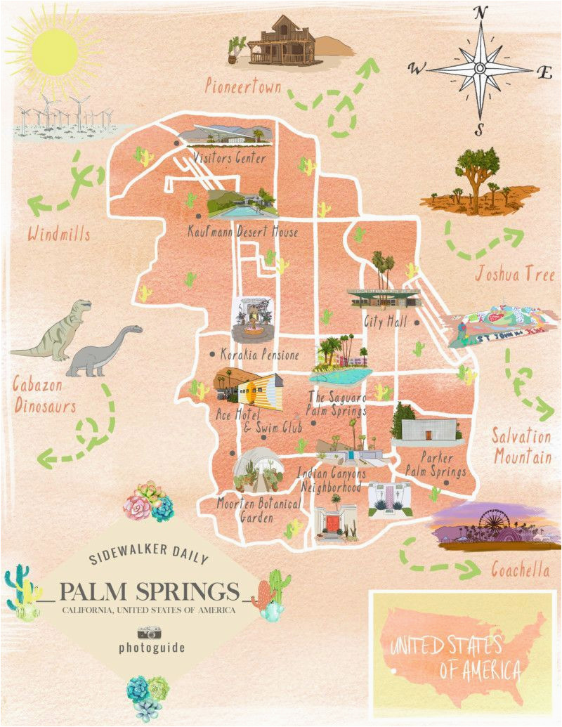 map of the best los angeles instagram spots palm springs palm