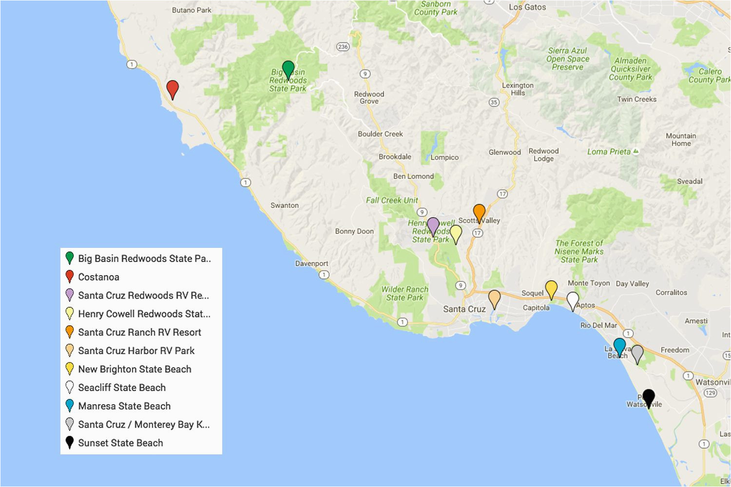 Santa Cruz California Map.Map Of Santa Cruz California Area Santa Cruz Camping Places You Will