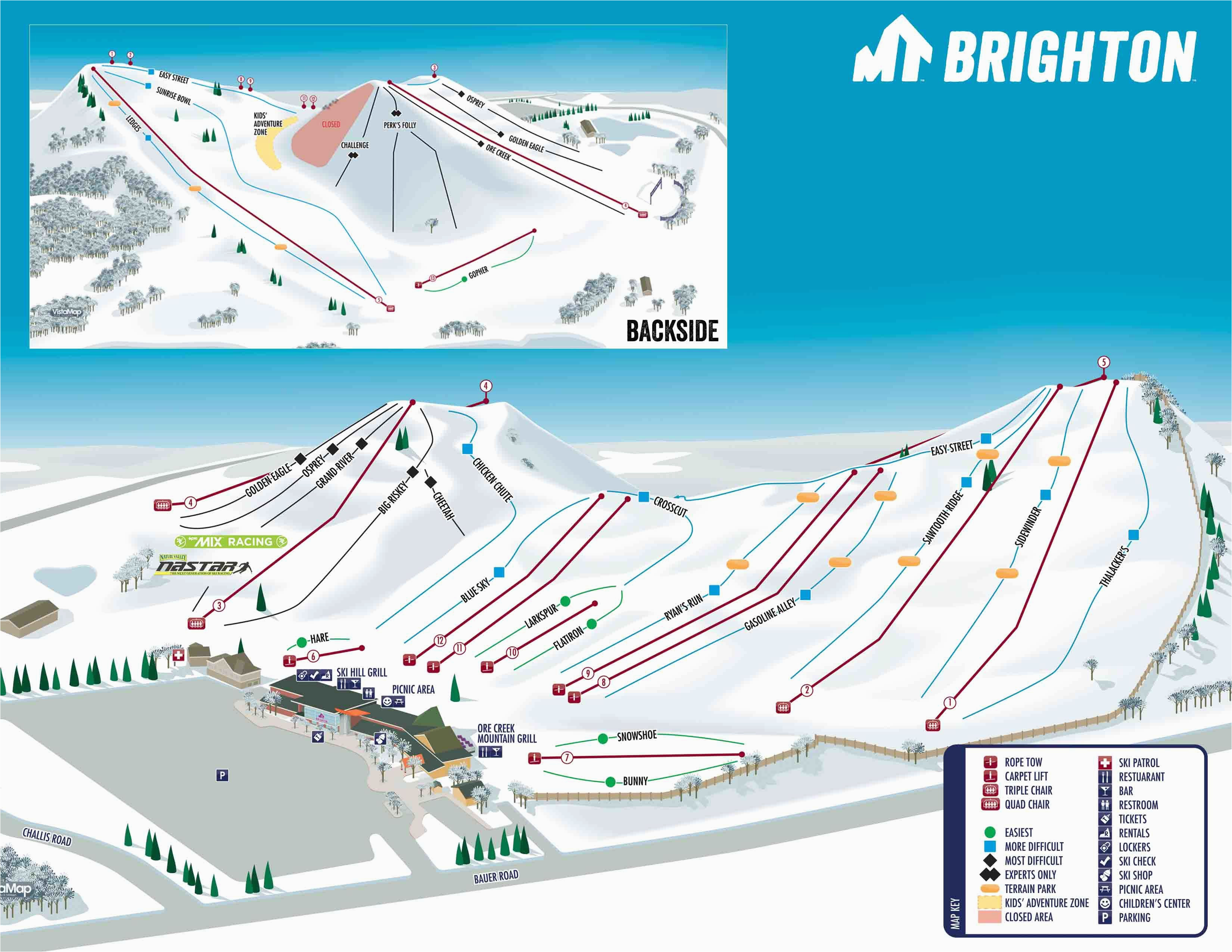 Map Of Ski Resorts In Michigan Mt Brighton Trail Map Onthesnow