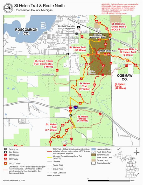 Map Of West Branch Michigan St Helen Orv All Cycle