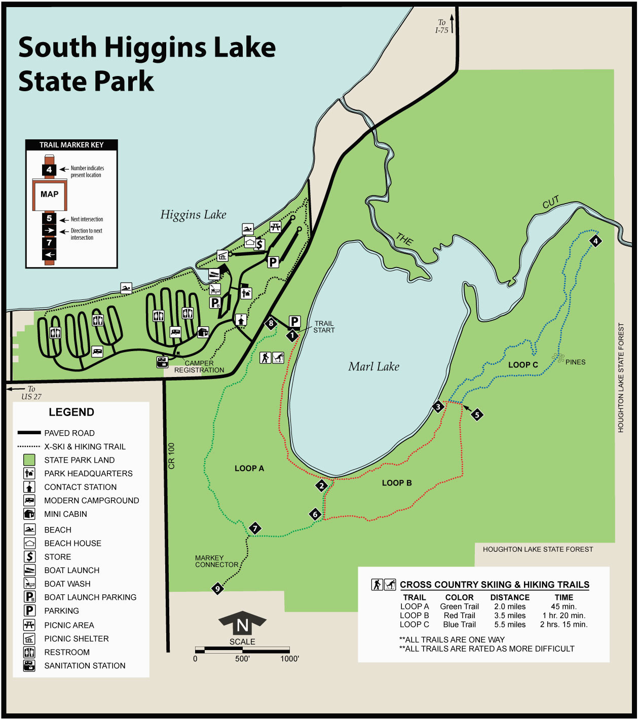 south higgins state parkmaps area guide shoreline visitors guide