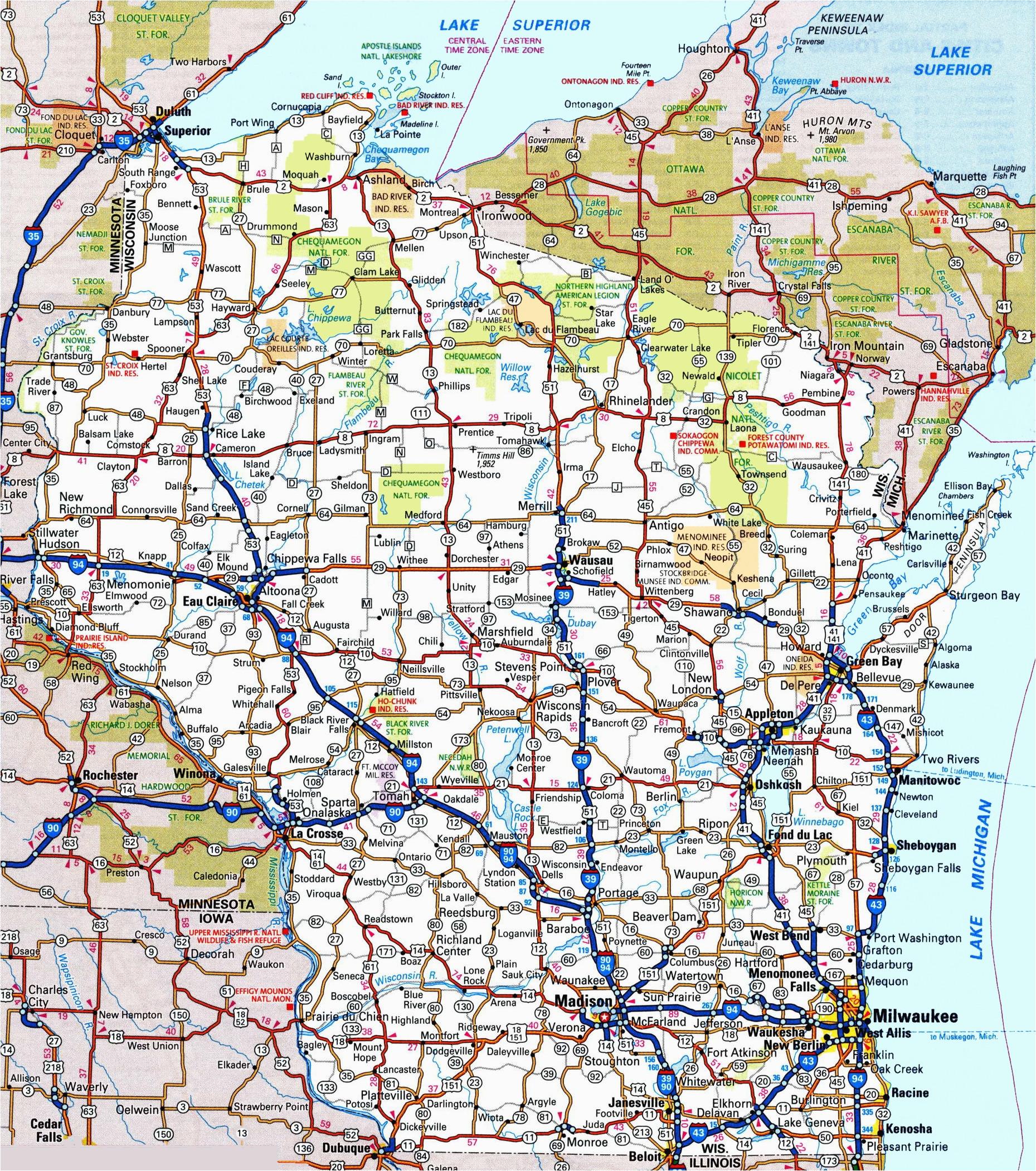 wisconsin road map