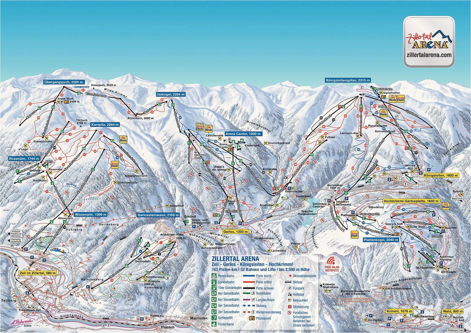 bergfex piste map zell am ziller zillertal arena panoramic map