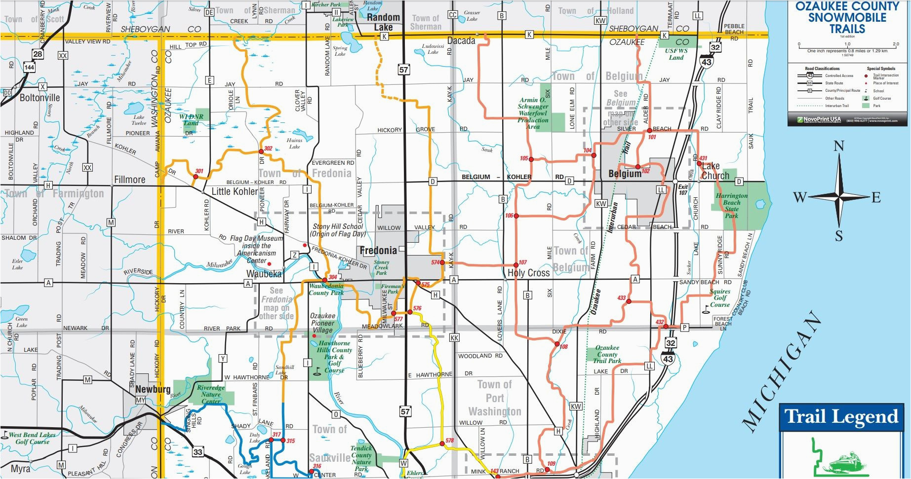 ozaukee county wi snowmobile trail map full county map brap
