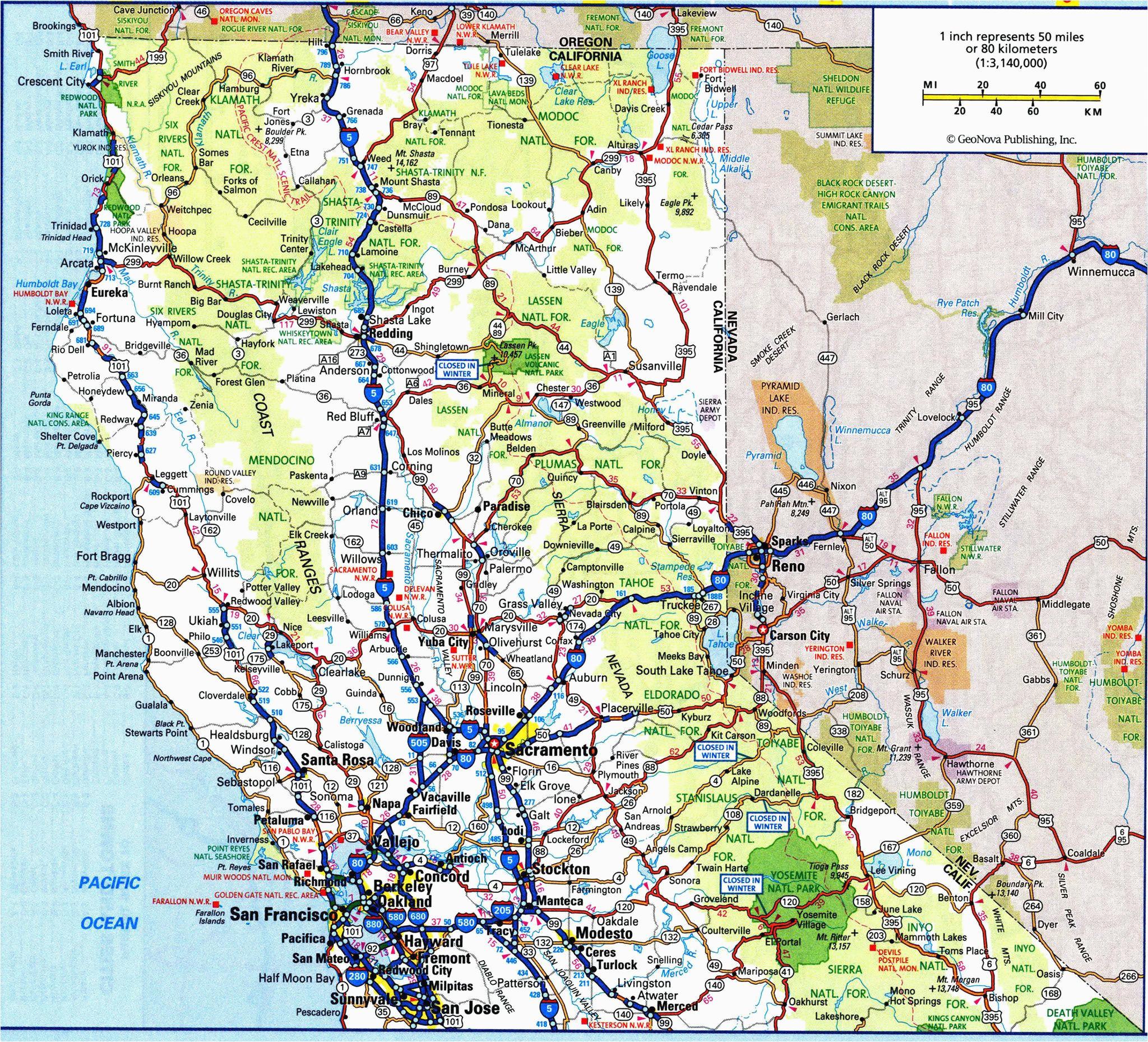 map of west coast of california road map california and oregon