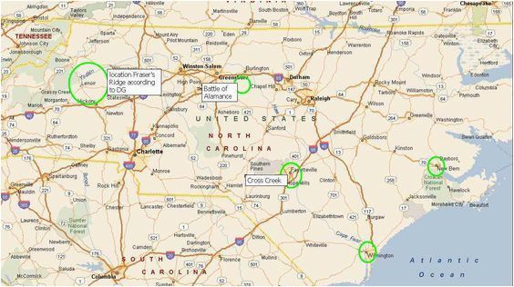 map of north carolina and where fraser s ridge would be blood of