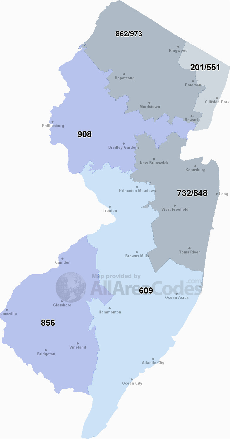 new jersey area codes map list and phone lookup