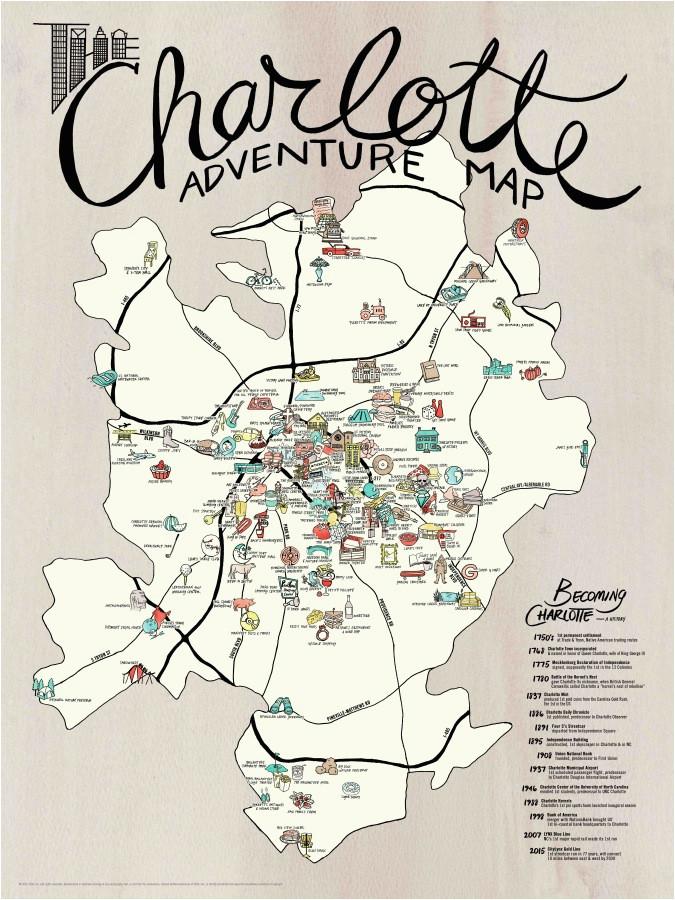 map poster set charlotte adventure edia maps nc sc food