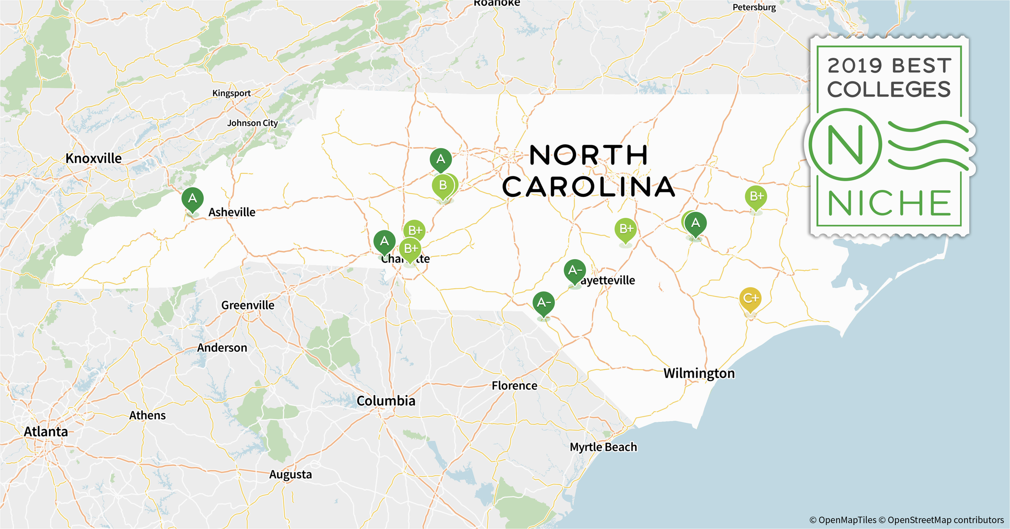 North Carolina Colleges and Universities Map 2019 Best Colleges In north Carolina Niche