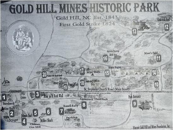North Carolina Gold Map Village Map Picture Of Gold Hill Mines Historic Park Gold Hill