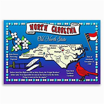 amazon com north carolina state map postcard set of 20 identical