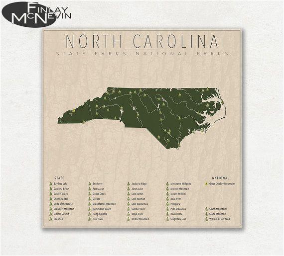 north carolina parks national and state park map fine art
