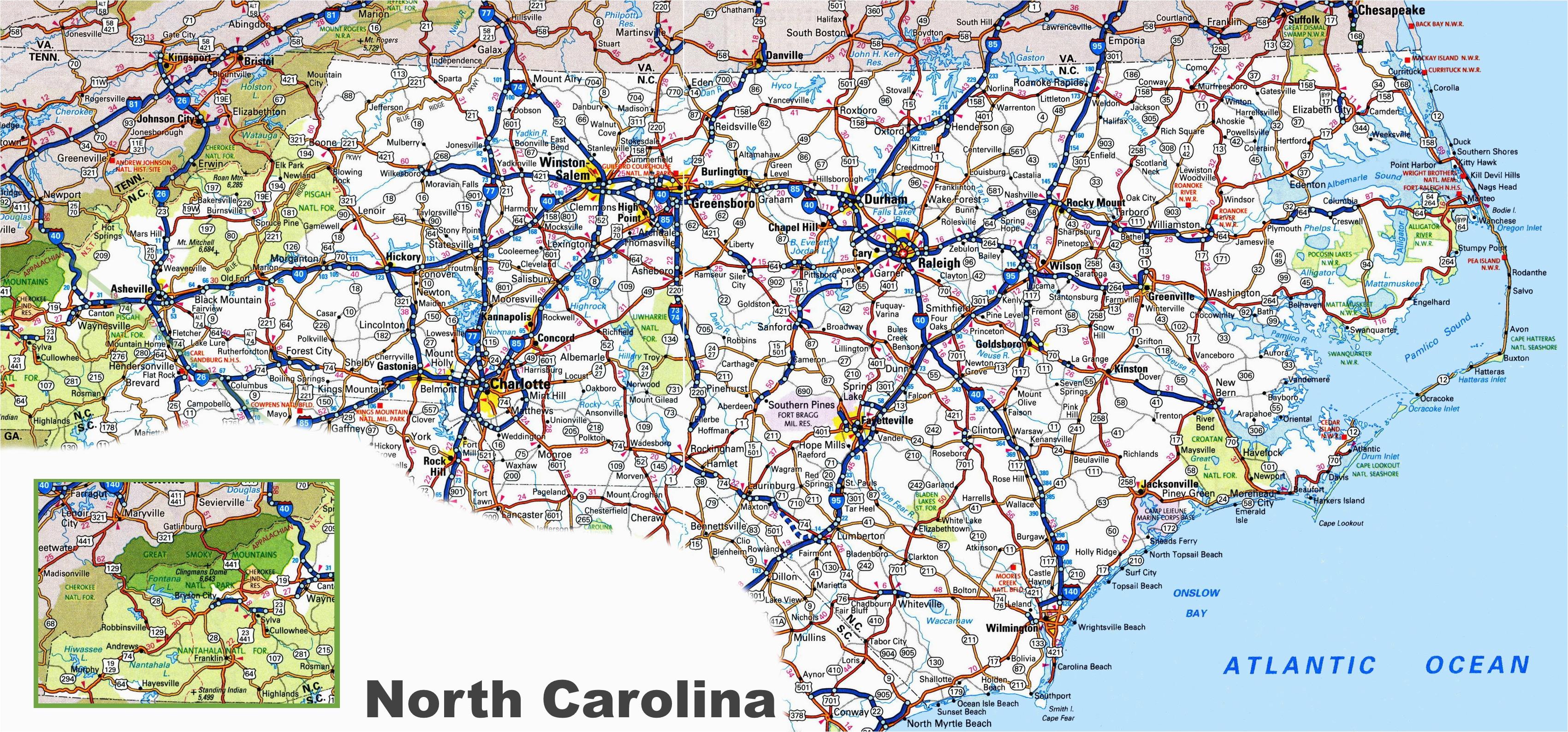 North Carolina State Road Map north Carolina Road Map