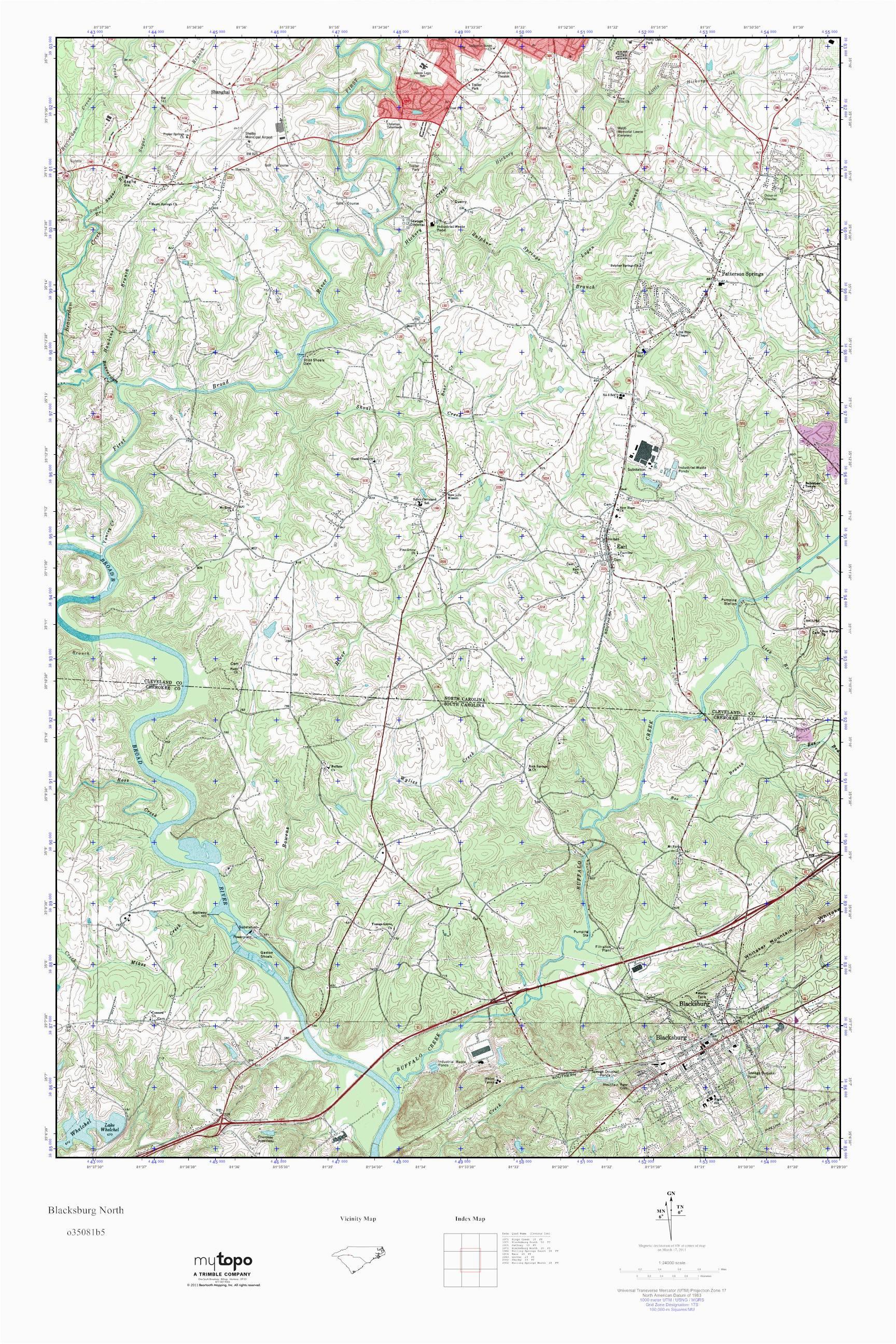 mytopo blacksburg north south carolina usgs quad topo map