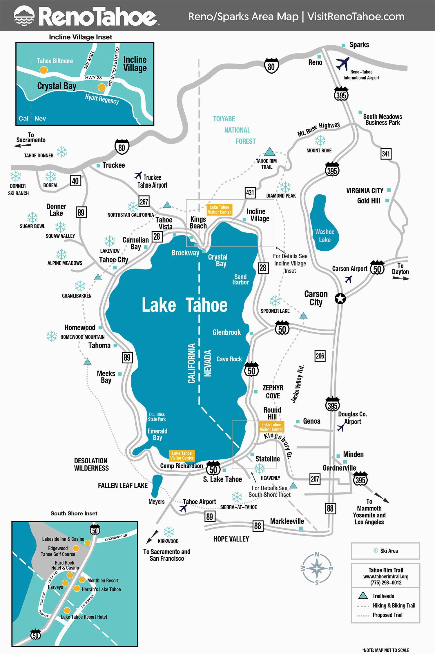 lake tahoe maps and reno maps labeled map lake tahoe california