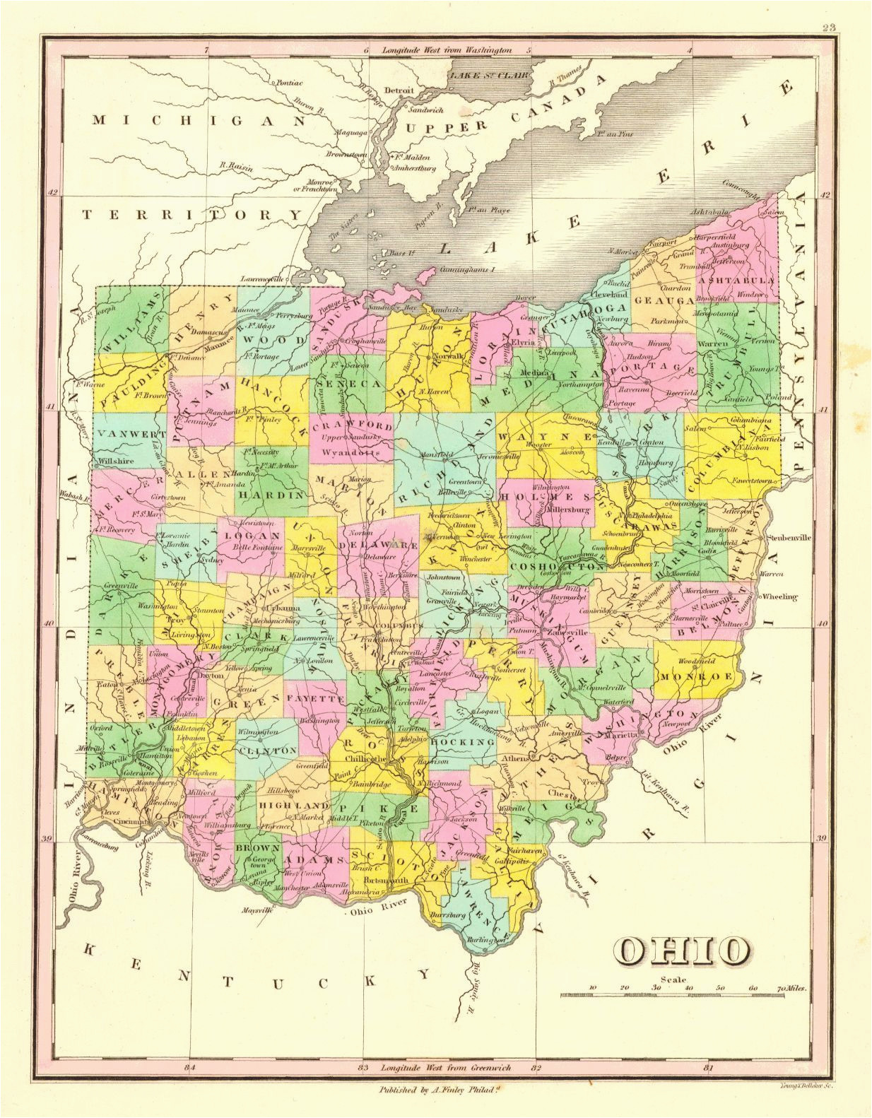 ohio a finley young delleker sc 1831 finely colored county