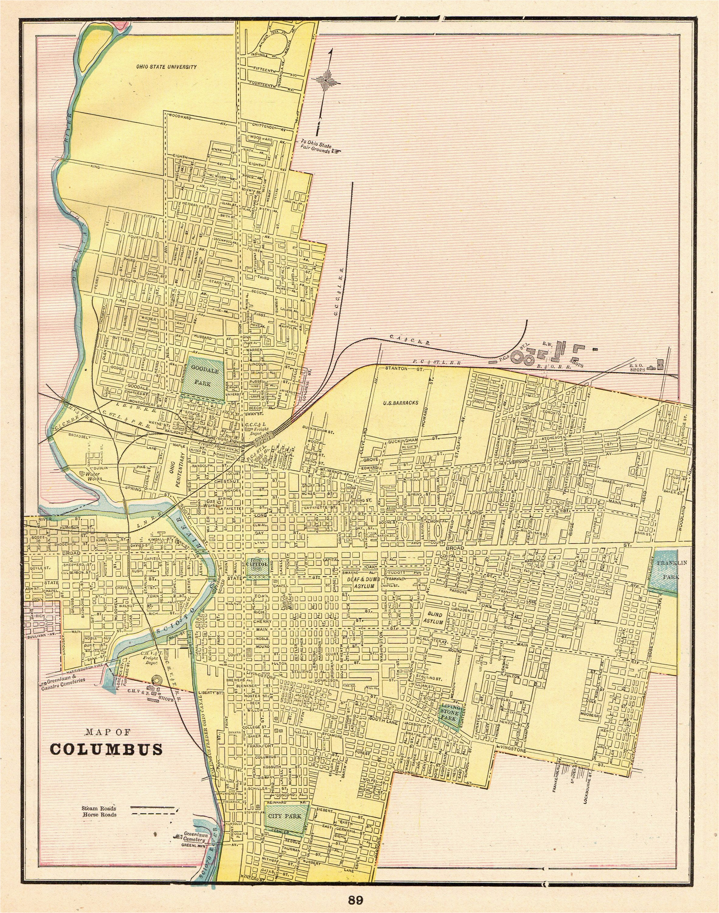 1892 antique columbus ohio map vintage city map print gallery wall