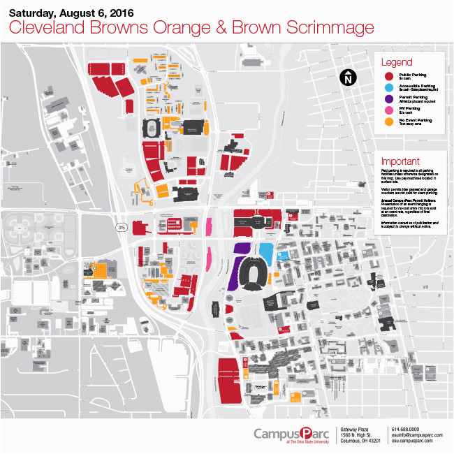Ohio State Football Parking Map Cleveland Parking Map ...