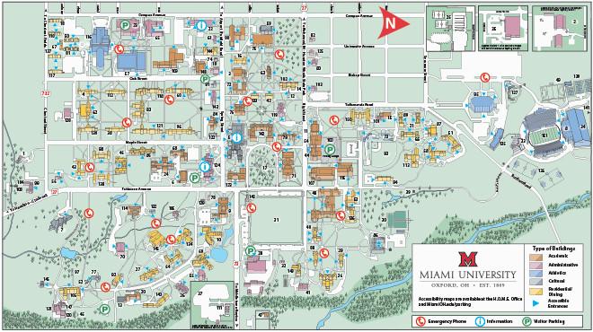 Ohio State University Parking Map Oxford Campus Maps Miami ...