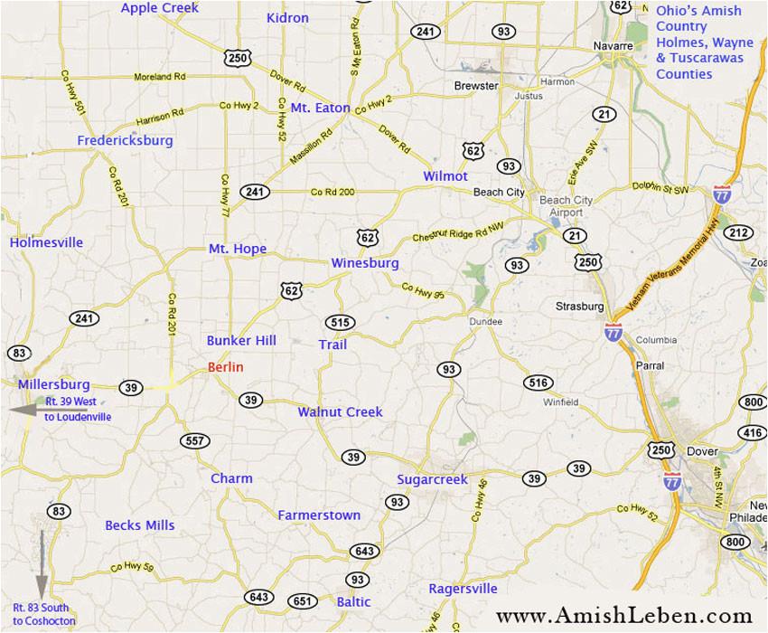 ohio amish country map