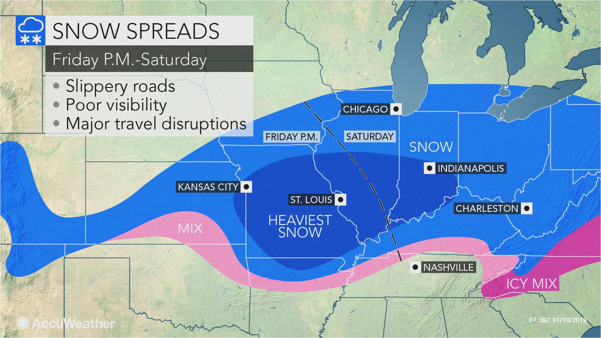 snowstorm poised to hinder travel from missouri through ohio
