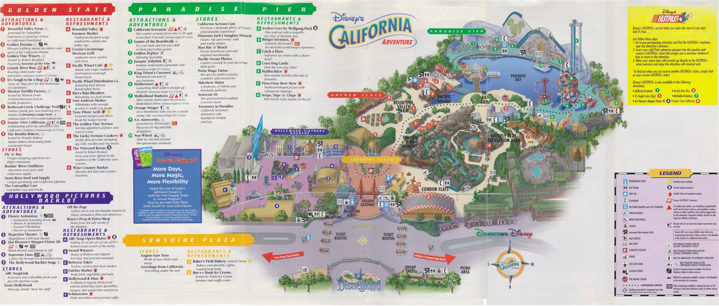 california adventure land map free printable map california