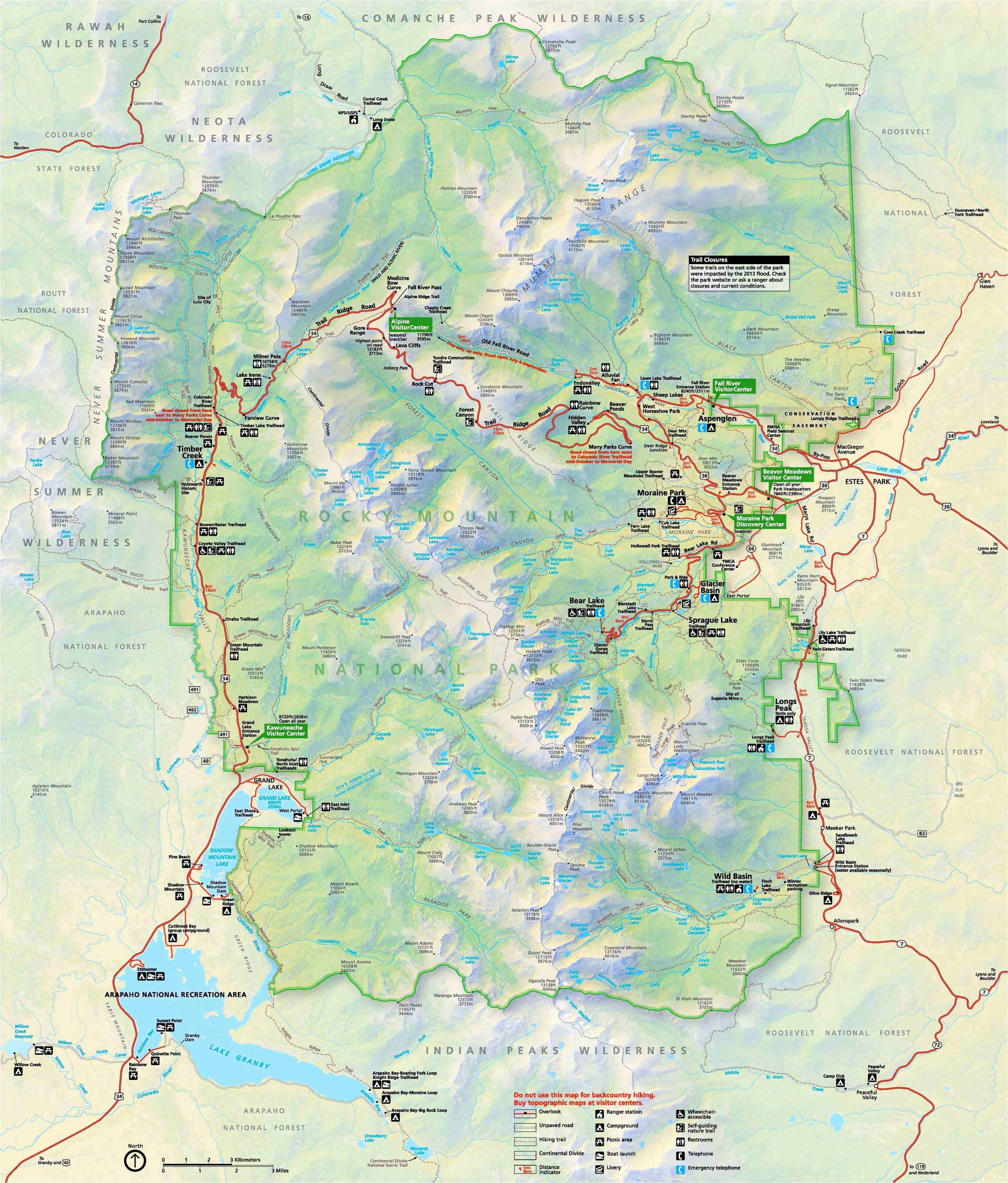 rocky mountain national park maps usa maps of rocky mountain