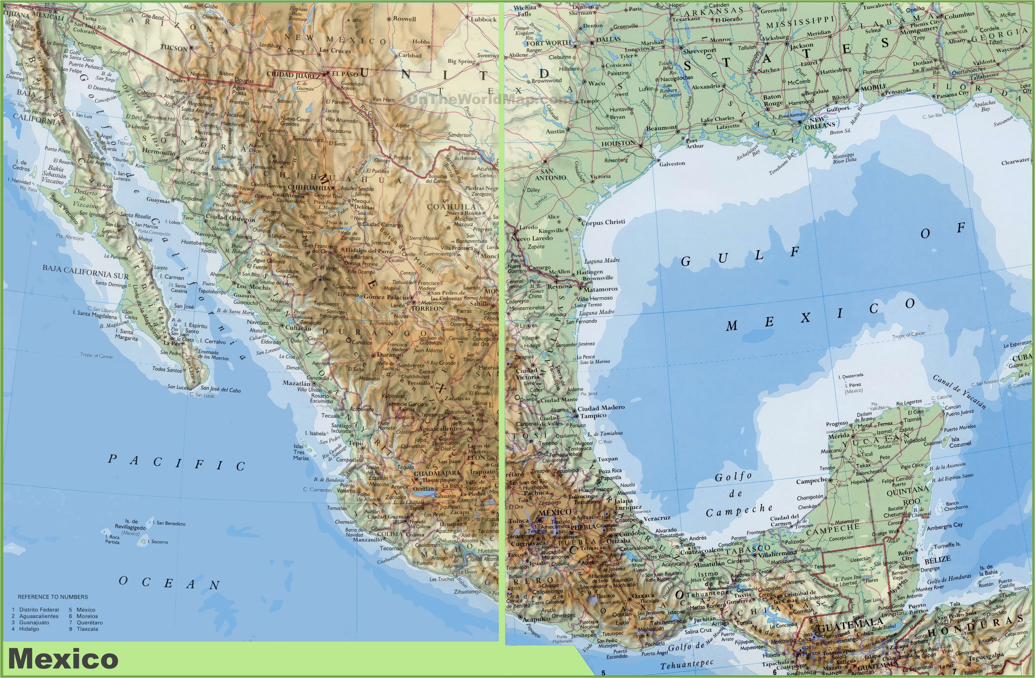 san felipe baja california map new detailed physical map mexico