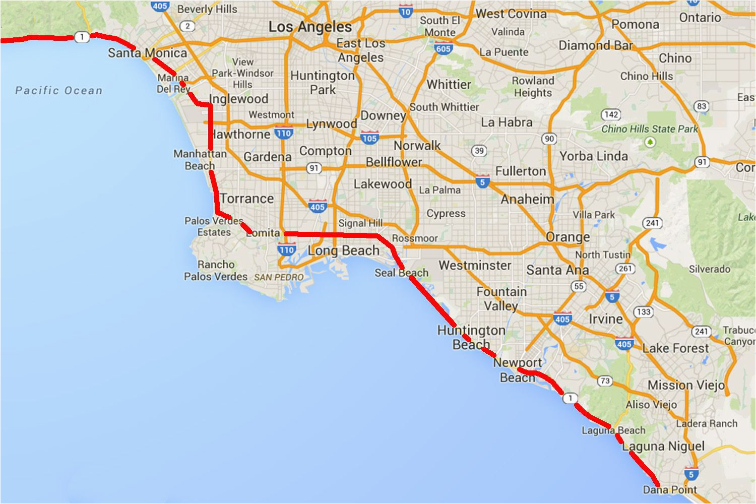 California Map Coastal Drive.Southern California Beach Towns Map Drive The Pacific Coast Highway