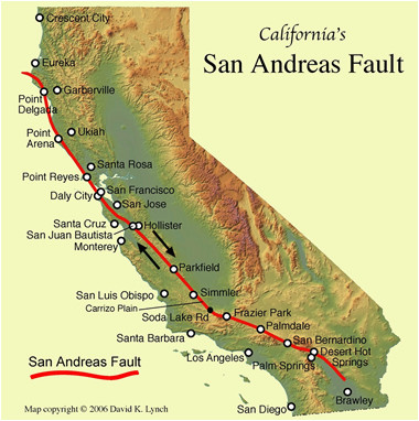 san andreas fault line fault zone map and photos