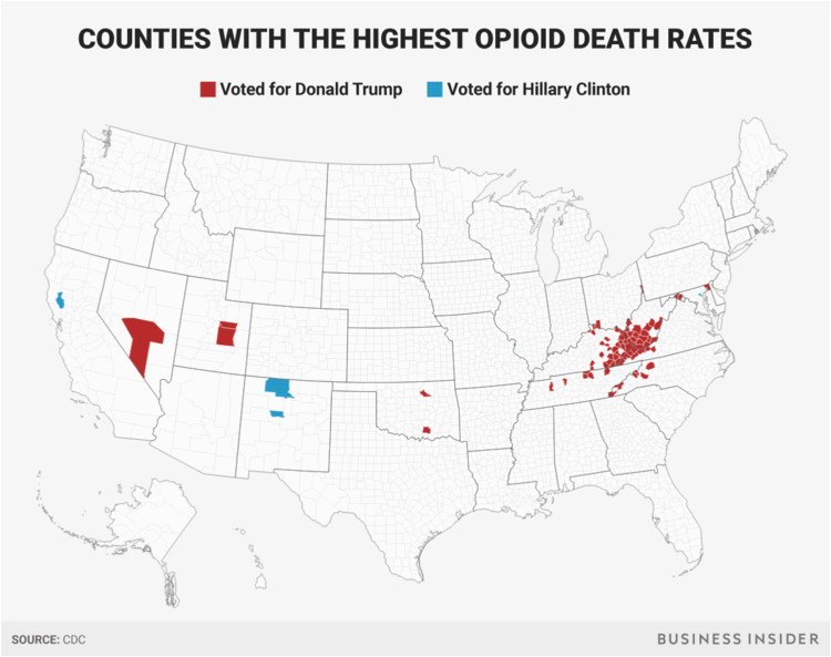 maps show that counties where opioid deaths are high voted for trump