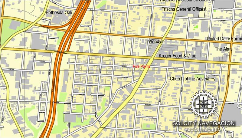 Street Map Of Cincinnati Ohio Cincinnati Ohio Us Printable Vector ...