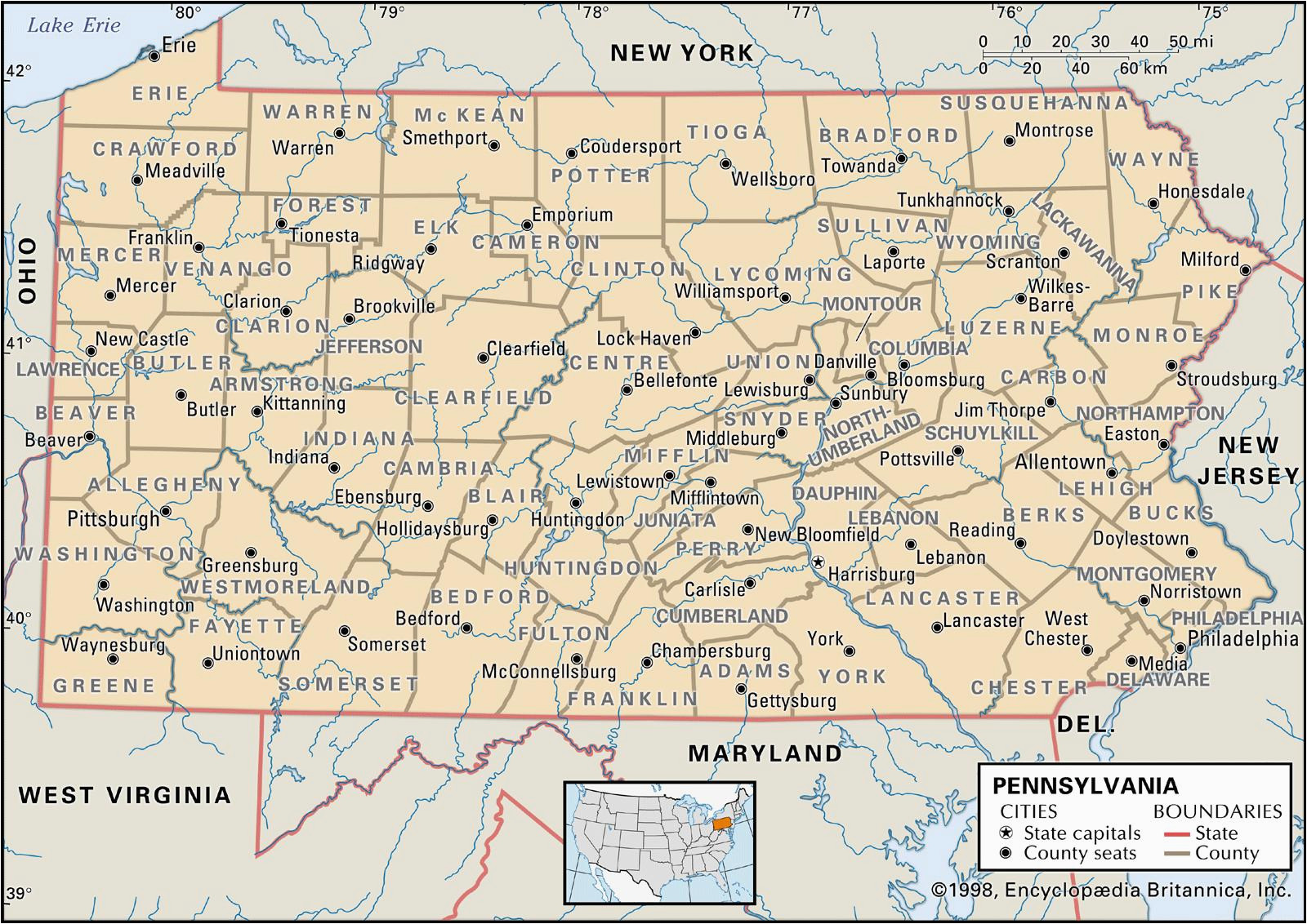 state and county maps of pennsylvania