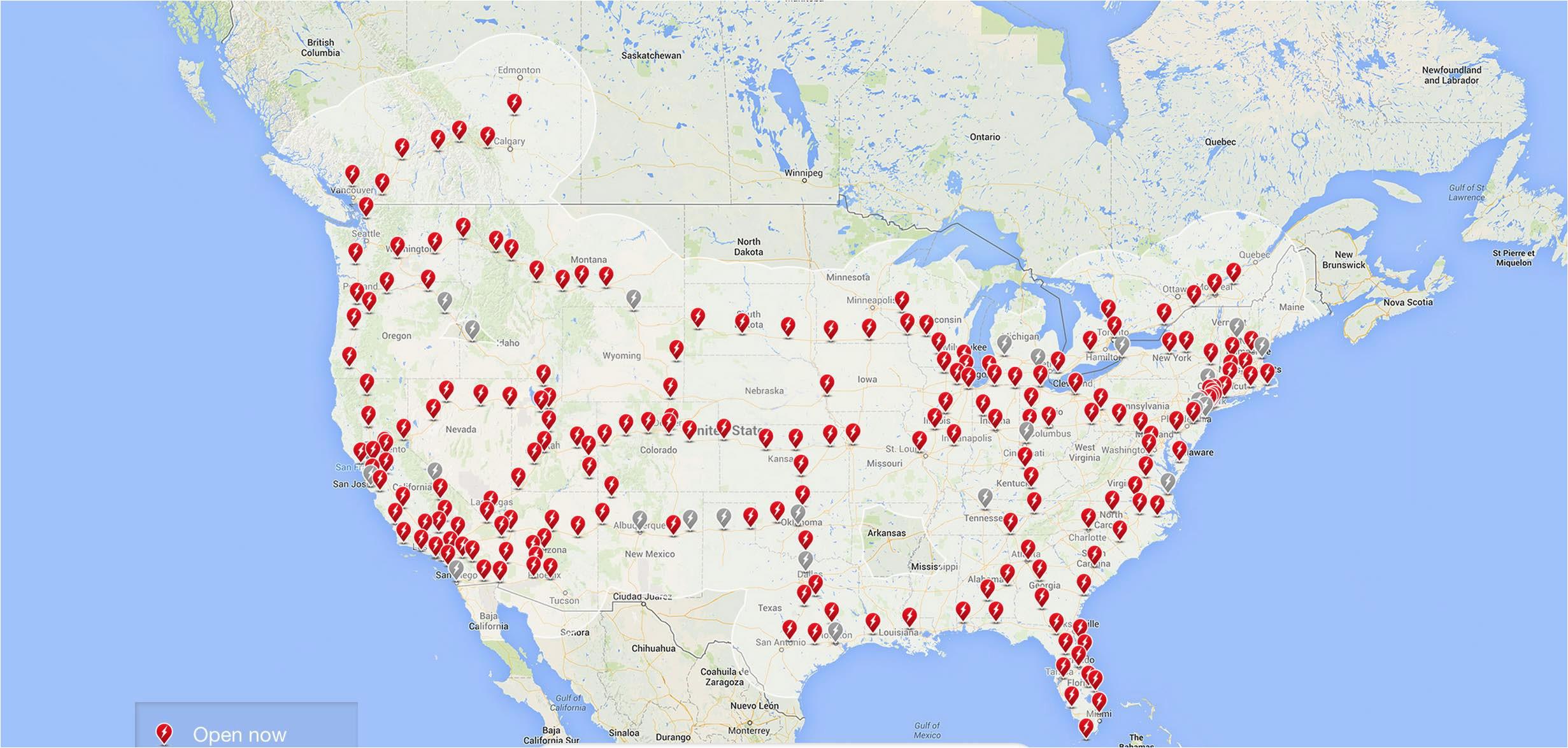 Tesla Supercharger Map California Tesla Supercharger Map 2017 ...