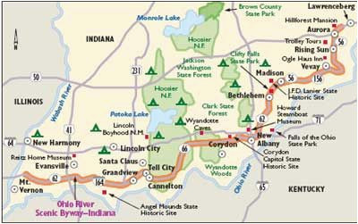 indiana scenic drives ohio river scenic byway indiana the place